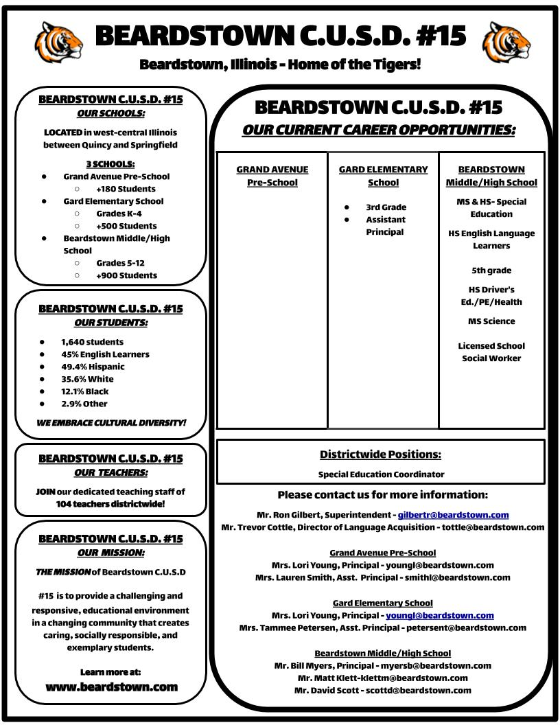 Beardstown CUSD 15 - Current Job Openings, Job Application
