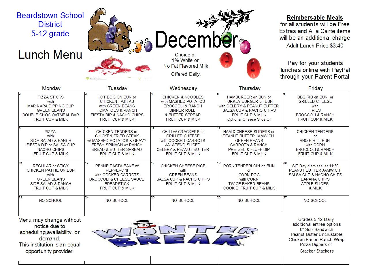 Beardstown Cusd 15 Lunch Menus